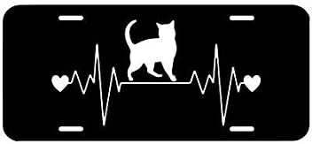 Animal Lover Car Plate Cat Heartbeat License Plate,Rescue Vanity Plate Tag Car Tag Cat Lady Car Accessory Cats Auto Car License Plate Frames for Women