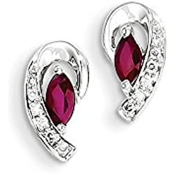 14K White Gold Diamond and Ruby Stud Earrings (0.06 CTTW, G-I Color, I1-I2 Clarity)
