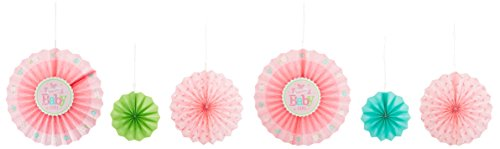 Amscan Dainty Welcome Little One Girl Paper Fan Decorations, Pink/Green/Blue