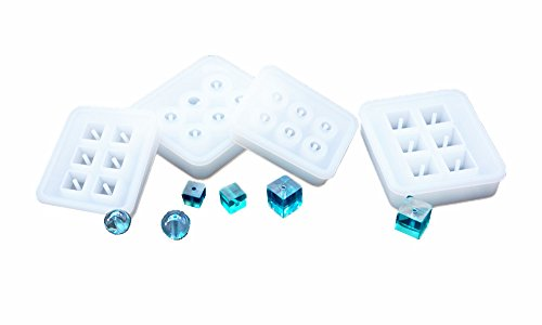 (DOYOLLA 4 Pack Silicone Jewelry Beads Molds Sphere Square Shaped Jewelry Pendant Casting Mould DIY Craft Tool )