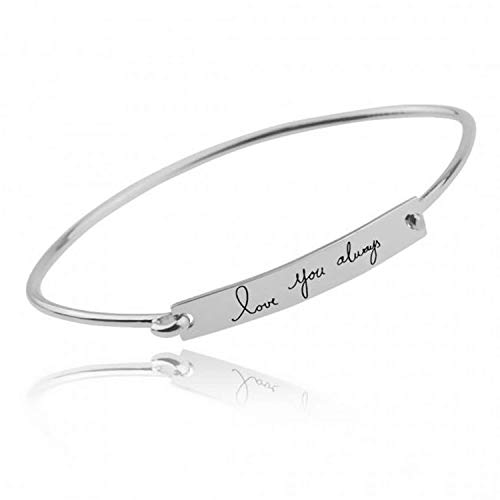 LONAGO 925 Sterling Silver Personalized Bar Bangle Engraved Any Name, Word, Symbols, Size 6