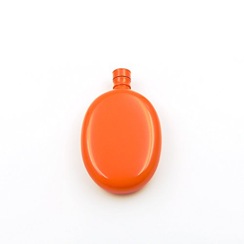 (iSavage 3oz 18/8 Stainless Steel Oval Shaped Hip Flask, Popular Orange)