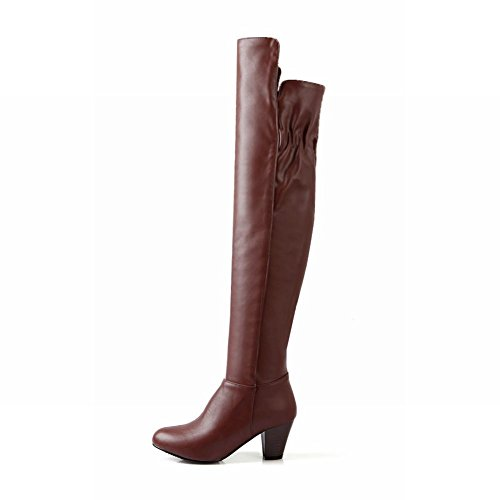 Latasa Womens Fashion Leather Over-the-knee High Mid-heel Chunky Western Riding Boots,zips Side Brown