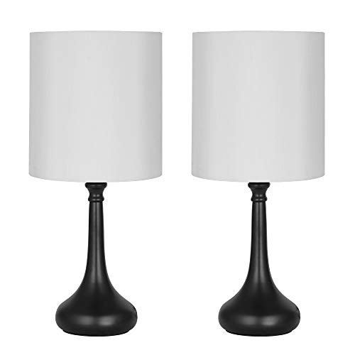 HAITRAL Modern Table Lamps - Bedside Desk Lamp Set of 2, Small Nightstand Lamps for Bedroom, Living Room, Office with Fabric Lamp Shade and Metal Base - Black/White (HT-BTL08-21X2)