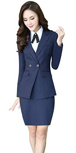 Women's Three Pieces Office Lady Stripe Blazer Business Suit Set Women Suits Work Skirt/Pant,Vest Jacket