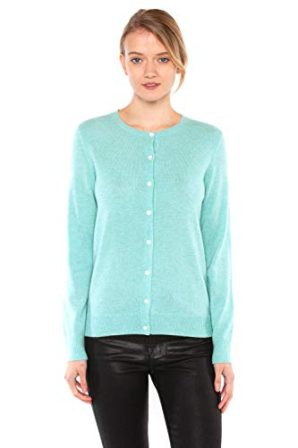 JENNIE LIU Women's 100% Cashmere Button Front Long Sleeve Crewneck Cardigan Sweater (S, Aqua)