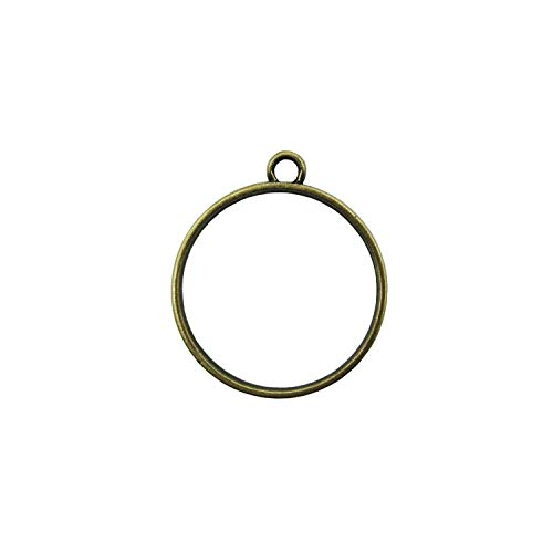 20 Pcs 1 Inch (25mm) Round Open Back Bezel Pendant Charms Round Frame Pendant with 1 Loop for UV Resin Crafts Jewelry Making (Bronze)