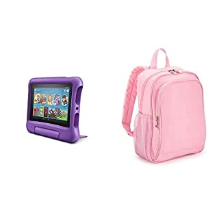 Fire 7 Kids Tablet 32GB Purple with Made for Amazon Kids Tablet Backpack, Pink