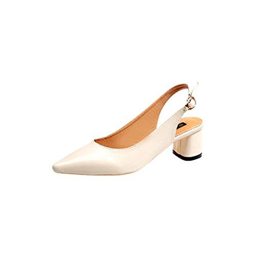 Women Kitten Heels Sandals,Hemlock Ladies Block-Heeled Wedges Sandals Slip-On Pointed Toes Shoes Flat Boots Platform Shoes (US:6.5, Beige)