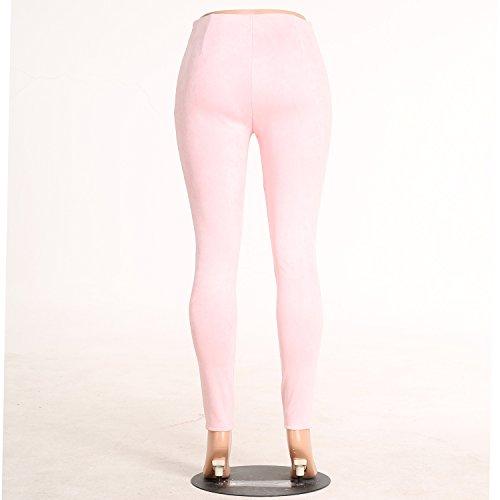 Pantalone Vita Simple Pantaloni Alta Pants Fashion Lungo Skinny Rosa Matita Moda a Scamosciato Donna Leggings xBq1wgnBH