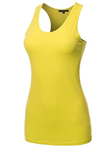 A2Y Women's Basic Solid Soft Cotton Scoop Neck Racer-Back Tank Top Yellow M