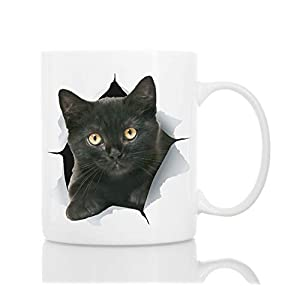 Funny Black Kitten Coffee Mug – Ceramic Funny Cat Mug –...