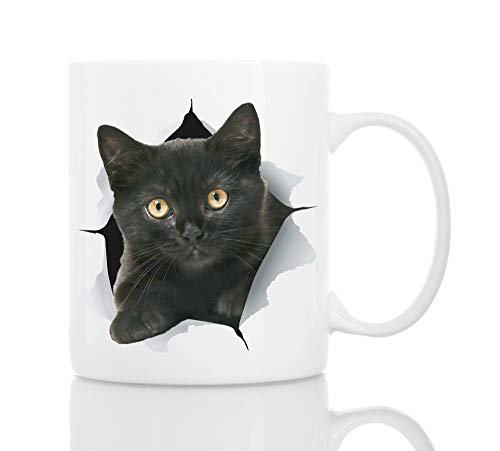 Funny Black Kitten Coffee Mug - Ceramic Funny Cat Mug - Perfect Cat Lover Gift - Cute Novelty Coffee Mug Present - Great Birthday or Christmas Surprise for Friend or Coworker, Men and Women (11oz)