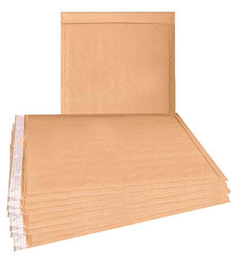 25 Pack Kraft padded envelopes 10.5 x 15 Bubble Mailers 10 1/2 x 15 Natural bubble envelopes Peal and Seal. Brown cushion envelopes for shipping, mailing, packing. Laminated kraft paper. Wholesale