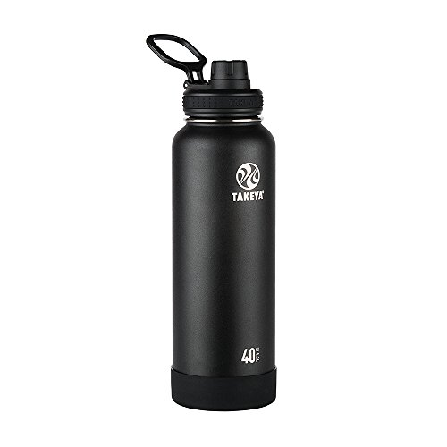 Takeya Actives Insulated Stainless Water Bottle with Insulated Spout Lid, 40oz, Onyx (Water 40 Bottle Oz Steel)