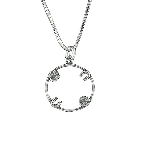 Four Charm Lucky Penny Holder - Corinna-Maria 925 Sterling Silver Lucky Penny Holder Pendant Necklace Four Leaf Clover Horseshoe