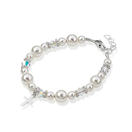 Sterling Silver Cross Charm Bracelet for Kids - with Swarovski Simulated Pearls and Crystals - Best Baptism and Christening Gift for Boys and Girls