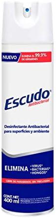 Escudo Antibacterial, Aerosol Desinfectante para Superficies y Ambiente, 1 Pieza de 400 ml con más de 75% de A