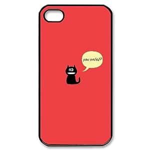 IPhone 4/4s Case Cute Cat Smile Ilike, Mens Designer Cute Kitten Jumphigh, {Black}