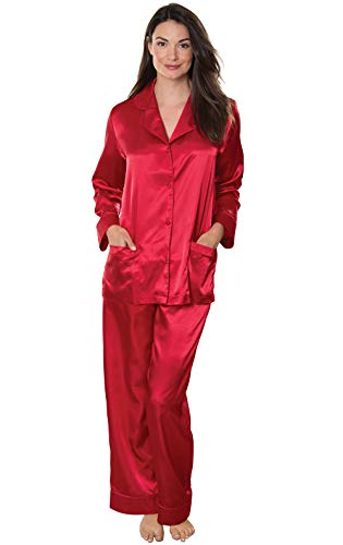 Grey Long Sleeved Silk Top - Addison Meadow Women's Satin Pajama Set with Button-Up Top, Red, Large / 12-14