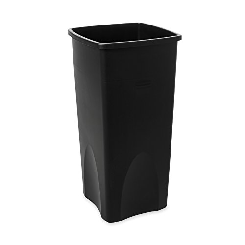 Rubbermaid Commercial FG356988BLA Square 23-Gallon Untouchable Trash Can, Black (Funnel Top Receptacle)