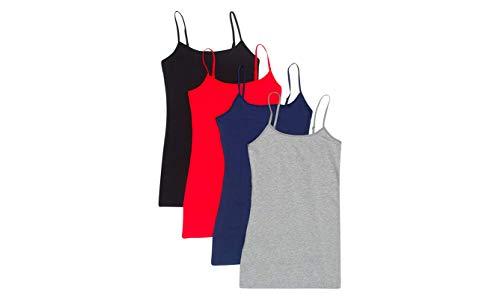 4 Pack Active Basic Women's Basic Tank Top (Medium, Black/H Gray/Navy/Red)