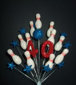 Superb Skittles 10 Pin Bowling Birthday Cake Topper In Red White Personalised Birthday Cards Paralily Jamesorg