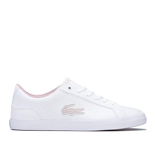 Lacoste Girls Junior Girls Lerond 319 Trainers in White Pink – UK 5