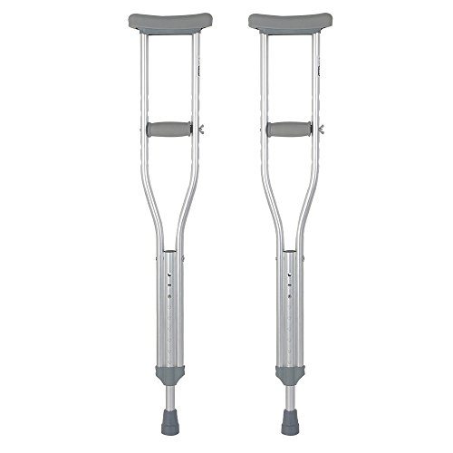XIHAA Thick Tube Adjustable Aluminum Alloy Medical Crutch, With Comfortable Underarm Pad And Handgrip Silver -M(1 Pair) by XIHAA