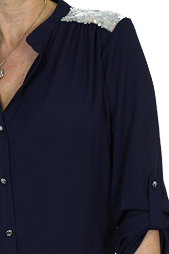 ICE (4057-1) blusa elegante de la gasa Azul marino con Lentejuelas