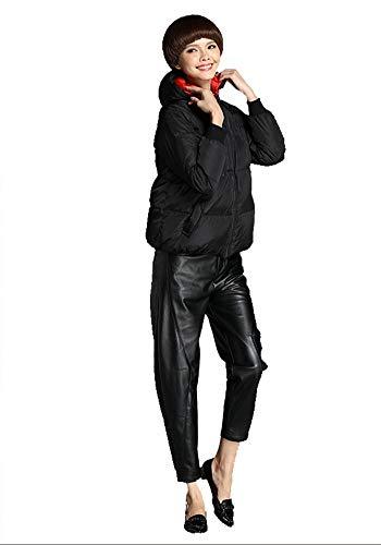 Femmes À Grande Pour Black Taille Veste En Noire De Mode Longues Manches Simple Duvet h D'hiver 8qH7wa