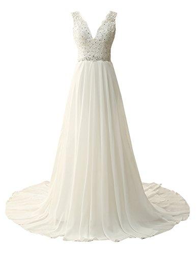ce5b1cd4b93 JAEDEN Beach Wedding Dress for Bride Chiffon Bridal Gown Lace Appliques  Beading Ivory US22W