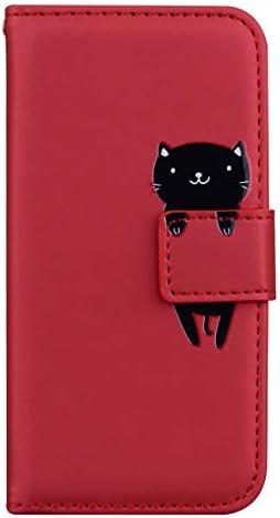 Snow Color Galaxy A90 5G Hülle, Premium Leder Tasche Flip Wallet Case [Standfunktion] [Kartenfächern] PU-Leder Schutzhülle Brieftasche Handyhülle für Samsung Galaxy A90 5G - COHM010196 Rot