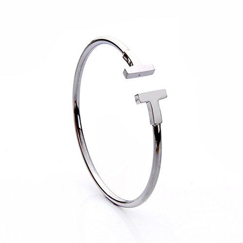 lureme® Xmas Minimal Retro-Stil Edelstahl Silber Ton einstellbar offene Armreif (06002483-1)