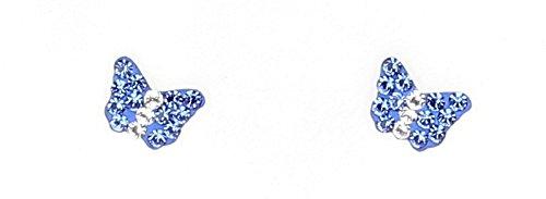 Bijoux Irina - Puces Papillon Grand Modèle en Argent & Swarovski Eléments Bleus