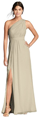 David's Bridal Long One-Shoulder Crinkle Chiffon Bridesmaid Dress Style F18055, Champagne, 16
