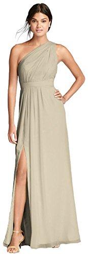 David's Bridal Long One-Shoulder Crinkle Chiffon Bridesmaid Dress Style F18055, Champagne, 16