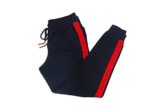 - Tommy Hilfiger Women's Logo Jogger Sweatpant Lounge Pant Bottom Pajama Pj, Navy Blazer Blue Tape on Leg, L
