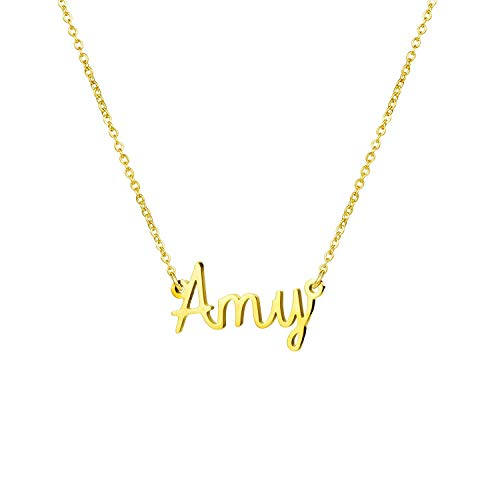 (Yiyang Friendship Necklaces Personalized Name Necklace 18K Gold Plated Stainless Steel Jewelry Birthday Gift for Girls)