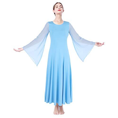 FYMNSI Princess Chiffon Angel Sleeve Women Worship Dance Dress Solid Wide Swing Loose Fit Liturgical Praisewear Costume Light Blue - Liturgical Dresses Dance