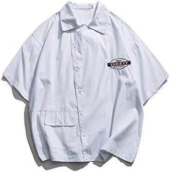 DXHNIIS Asimetría Carta Bordado Camisa de Gran tamaño de los Hombres de Manga Corta de diseño único Camisa de los Hombres Estilo Suelto Camisas para Hombre S Camisa Blanca: Amazon.es: Deportes y