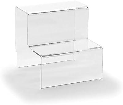 Hansen Decoración Escaleras/pantalla/Nivel Display/Ware podio/peldaños de; 2 niveles de acrílico/cristal (plexiglás, varios tamaños), color transparente 150x150x150 mm: Amazon.es: Oficina y papelería