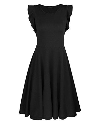 OUGES Women's Ruffles Cap Sleeve Summer Casual Cotton Flare Dress(Black,S)