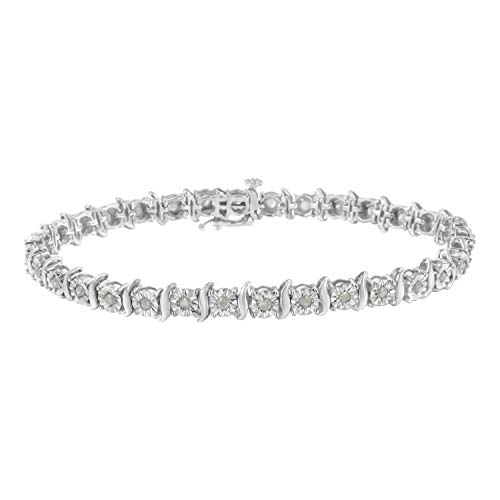 - Sterling Silver 1ct. TDW Rose-cut Diamond S-Curve Bracelet (I-J, I3-Promo) (White)