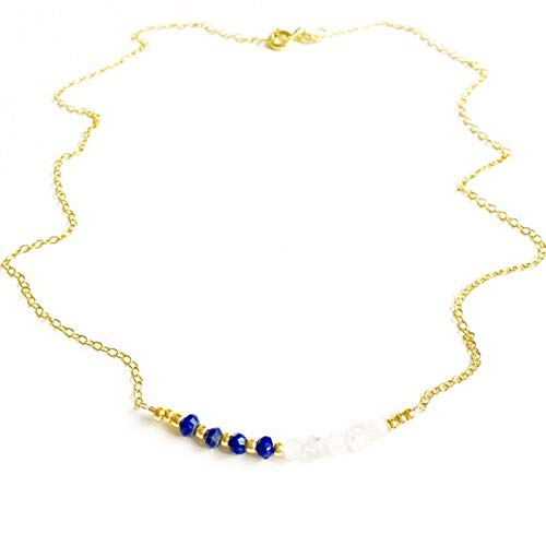 (JP_BEADS Floating Lapis Lazuli and Moonstone Gold FilledFilled Vermeil Gemstone Necklace //Lapis Lazuli Jewellery //Bridesmaid Gifts //Gifts for Women //Handmade 3mm 16