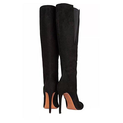 delgado calentar mujer talones black botas zapatos alto largo lateral ante cremallera cuero high tube pAqUnpPFz