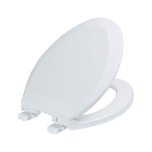 Elongated Toilet Seats with cover, Anti-bacterial Plastic, Quiet-Close, Fits All Elongated (Oval) Toilets, White