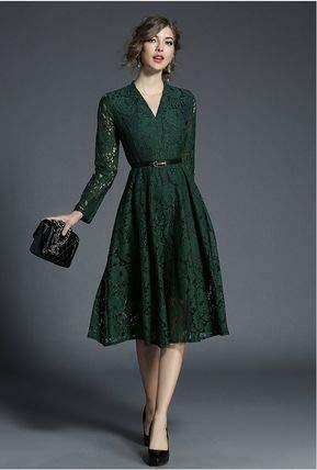 e28a36f343e04 人気☆ Vネック 緑 レース Aライン お呼ばれ 結婚式 ドレス(Green-M