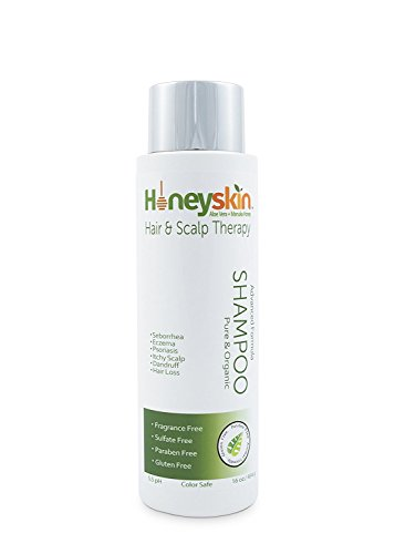 Gentle Restorative Shampoo (16 oz) Eczema, Psoriasis, Seborrhea, Dermatitis, Dandruff, Itchy Scalp Dry Scalp Treatment - Natural Organic Ingredients, Manuka Honey & Aloe Vera by Honeyskin Organics