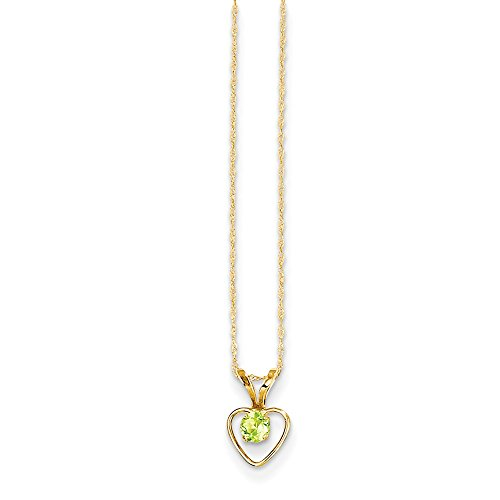 (14k Yellow Gold 3mm Green Peridot Heart Birthstone Chain Necklace Pendant Charm Kid Fine Jewelry Gifts For Women For Her)